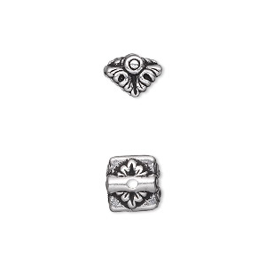 pendant cap, tierracast, antique silver-plated pewter (tin-based alloy), 9x9mm double-sided square with leaves, fits 4.5mm flat-sided bead. sold per pkg of 2.