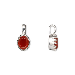 pendant, carnelian (dyed / heated) and sterling silver, 15x8mm with 8x6mm faceted oval. sold individually.