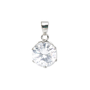 pendant, cubic zirconia and imitation rhodium-plated brass, clear, 12mm faceted round. sold individually.