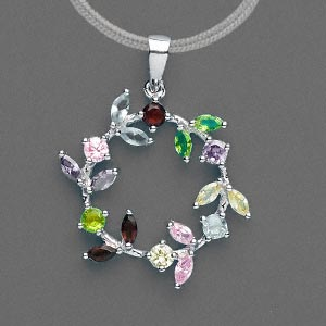 pendant, cubic zirconia and rhodium-plated sterling silver, multicolored, 21x21mm flower wreath. sold individually.