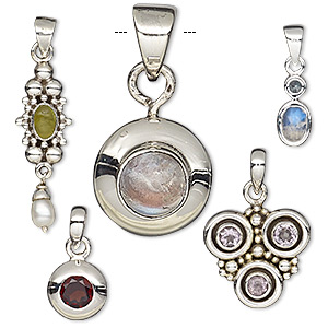 pendant, cultured freshwater pearl / multi-gemstone (natural / dyed / heated) / sterling silver, mixed colors, 5mm-24x15mm mixed shape. sold per pkg of 5.