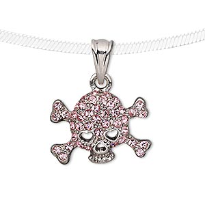 pendant, czech glass rhinestone and silver-plated pewter (tin-based alloy), pink, 22x16mm skull with crossbones. sold individually.