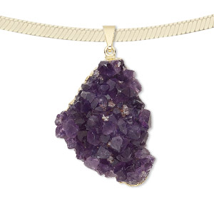pendant, druzy amethyst (natural) with gold-plated brass and copper, 48x24mm-42x35mm hand-cut freeform. sold individually.