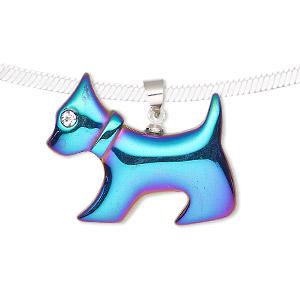 pendant, electroplated hemalyke™ (man-made) / glass / silver-finished brass, rainbow and clear, 28x25 mm single-sided dog. sold individually.