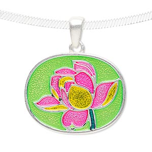 pendant, enamel and silver-finished pewter (zinc-based alloy), neon green / yellow / hot pink, 30x24mm matte oval with flower design. sold individually.