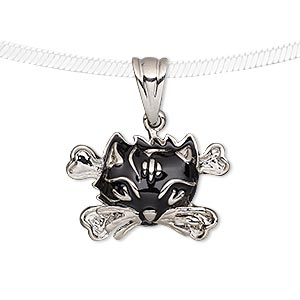 pendant, enamel and silver-plated pewter (tin-based alloy), black, 24x16mm cat face with crossbones. sold individually.