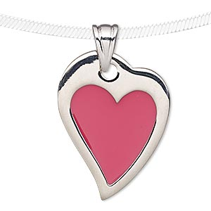 pendant, enamel and silver-plated pewter (tin-based alloy), pink, 31x24mm heart. sold individually.