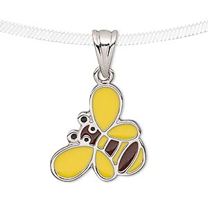 pendant, enamel and silver-plated pewter (tin-based alloy), yellow / brown / black, 23x18mm bee. sold individually.