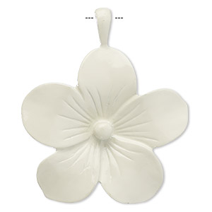 pendant, enameled pewter (zinc-based alloy), ivory, 46x44mm flower. sold individually.