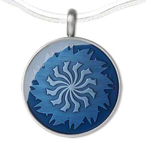 pendant, epoxy and pewter (zinc-based alloy), blue, 45x35mm single-sided matte round with swirl design. sold individually.