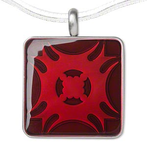 pendant, epoxy and pewter (zinc-based alloy), matte red, 45x35mm single-sided square with fancy blade design. sold individually.