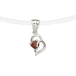pendant, garnet (natural) and sterling silver, 12x9mm open falling heart with 4x4x4mm faceted triangle. sold individually.