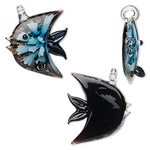 pendant, glass, black and light blue with copper colored foil, 38x36mm fish. sold individually.