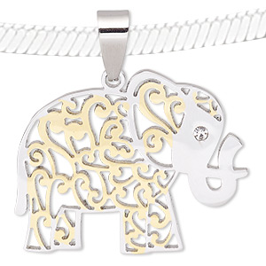 pendant, glass rhinestone / stainless steel / gold-finished stainless steel, clear, 36x29mm elephant with cutout design. sold individually.