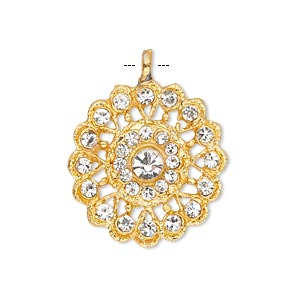 pendant, glass rhinestone and gold-finished pewter (zinc-based alloy), clear, 23mm round. sold individually.
