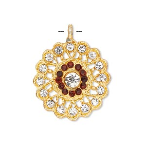 pendant, glass rhinestone and gold-finished pewter (zinc-based alloy), clear and red, 23mm round. sold individually.