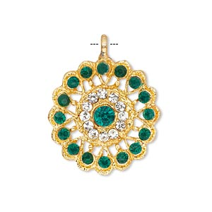 pendant, glass rhinestone and gold-finished pewter (zinc-based alloy), clear and green, 23mm round. sold individually.