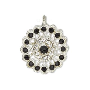 pendant, glass rhinestone and silver-finished pewter (zinc-based alloy), clear and black, 23mm round. sold individually.