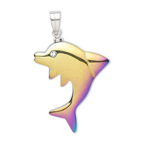 pendant, hemalyke™ (man-made) / glass rhinestone / silver-plated copper, clear and rainbow, 28x24mm dolphin. sold individually.