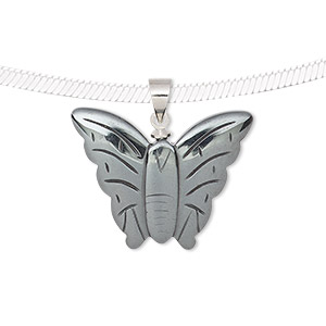 pendant, hemalyke™ (man-made) and silver-finished brass, 25x23.5mm single-sided butterfly. sold individually.
