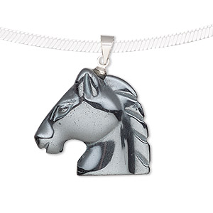 pendant, hemalyke™ (man-made) and silver-finished brass, 25x23mm single-sided horse head. sold individually.