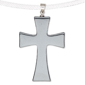 pendant, hemalyke™ (man-made) and silver-finished brass, 38x27mm double-sided cross. sold individually.