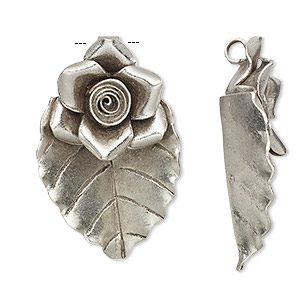 pendant, hill tribes, antiqued fine silver, 31x19mm leaf with flower. sold individually.