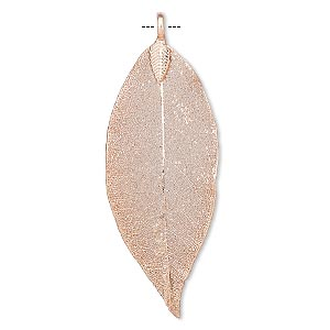 pendant, indian rubber plant and copper-plated brass, 48x20mm-72x30mm leaf. sold individually.