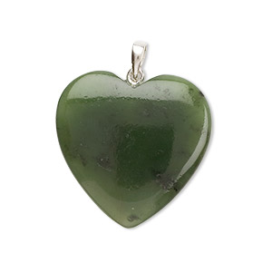 pendant, jade (natural) and sterling silver, medium to dark, 25mm heart. sold individually.