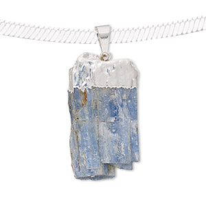 pendant, kyanite (natural) with silver-plated copper and brass, 32x13mm-41x19mm freeform point. sold individually.