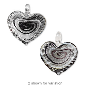 pendant, lampworked glass, black and white with silver-colored foil, 42x40mm single-sided wavy heart with swirls. sold individually.