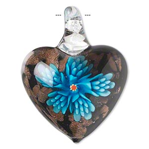 pendant, lampworked glass, multicolored with copper-colored foil, 40x33mm single-sided puffed heart with flower. sold individually.