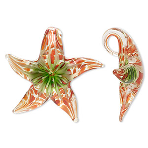 pendant, lampworked glass, orange / green / clear, 46x42mm single-sided starfish. sold individually.