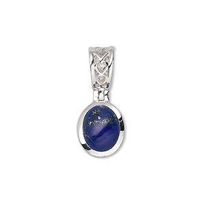 pendant, lapis lazuli (dyed) and sterling silver, 24x11mm with 10x8mm oval. sold individually.