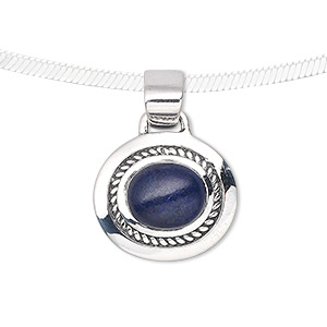 pendant, lapis lazuli (dyed) and sterling silver, 25x9mm with 10x9mm oval. sold individually.
