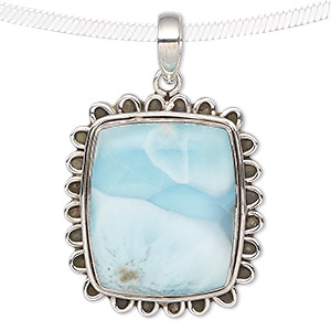 pendant, larimar (natural) and antiqued sterling silver, 33x28mm-39x33mm rectangle with scalloped edge. sold individually.