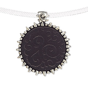 pendant, leather (dyed) and antiqued silver-finished pewter (zinc-based alloy), black, 35x30mm-36x30mm round with stamped swirl design and tube bail. sold individually.