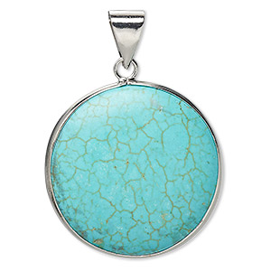 pendant, magnesite (dyed / stabilized) and imitation rhodium-plated brass, blue, 31mm double-sided round, b grade, mohs hardness 3-1/2 to 4. sold individually.