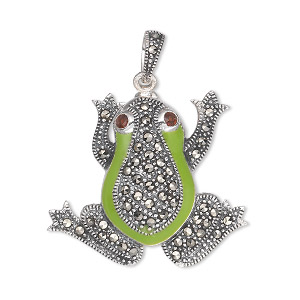 pendant, marcasite (natural) / garnet (imitation) / epoxy / antiqued sterling silver, green, 29x26mm frog. sold individually.