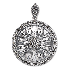 pendant, marcasite (natural) and antiqued sterling silver, 29mm flat round with flower design. sold individually.