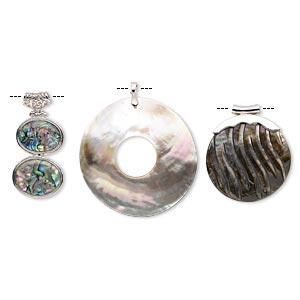 pendant mix, epoxy / multi-shell (natural / dyed / assembled) / imitation rhodium-finished brass, mixed colors, 26x25mm-70x70mm mixed shape. sold per pkg of 3.