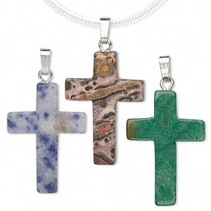 pendant mix, multi-gemstone (natural / dyed / manmade) with gold-finished and/or silver-plated brass, 25x17mm cross. sold per pkg of 100.