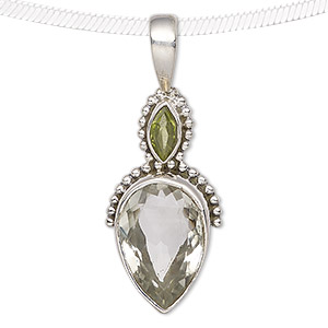 pendant, peridot (natural) / green quartz (heated) / antiqued sterling silver, 42x16mm with beaded marquise and teardrop. sold individually.