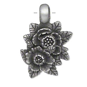 pendant, pewter (tin-based alloy), 37x25mm single-sided double flower with leaves. sold individually.