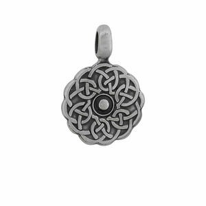 pendant, pewter (zinc-based alloy), 39x27mm flat round celtic knot. sold individually.
