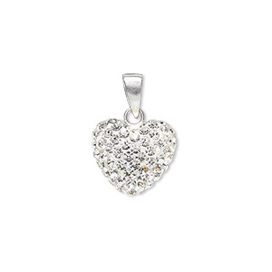 pendant, preciosa glass rhinestone / epoxy / sterling silver, white and clear, 14x12.5mm double-sided puffed heart. sold individually.