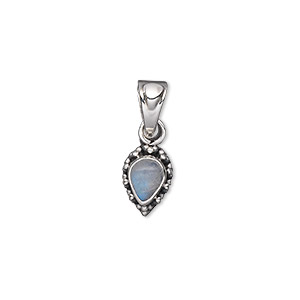 pendant, rainbow moonstone (natural) and antiqued sterling silver, 11x8mm with 7x5mm teardrop. sold individually.