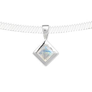 pendant, rainbow moonstone (natural) and sterling silver, 20x12mm with 8x8mm faceted diamond. sold individually.
