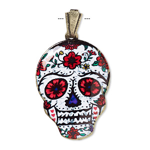 pendant, resin and gold-finished brass, red / white / multicolored, 30x22mm dia de los muertos skull with flower pattern and open bail. sold individually.