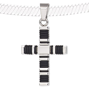 pendant, silicone and stainless steel, black, 38x25mm two-sided tiered cross. sold individually.